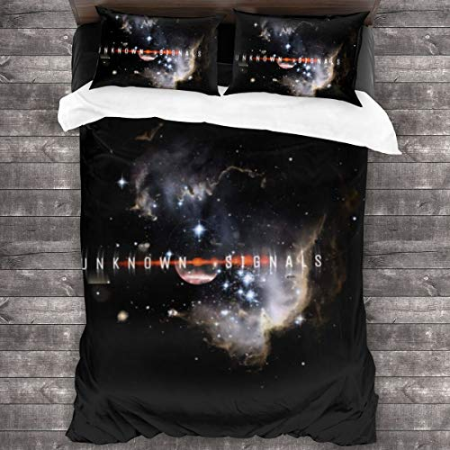 KUKHKU Unknown Signals 3 Pieces Bedding Set Duvet Cover 86x70 inch, Decorative 3 Piece Bedding Set With 2 Pillow Shams