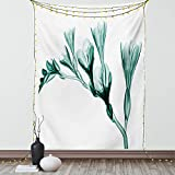 Ambesonne Flower Tapestry, X-ray Image of Flower on Simple Background Nature Inspired Illustration Print, Wall Hanging for Bedroom Living Room Dorm Decor, 40' X 60', White Teal