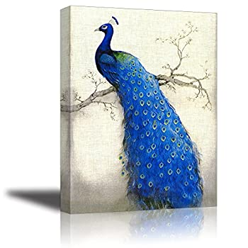 Peacock Wall Art Decor for Bedroom PIY HD Beautiful Oil Painting Canvas Prints of Elegant Proud Peacock on Beige Pictures  1  Thick Frame Waterproof Artwork Bracket Mounted Ready to Hang