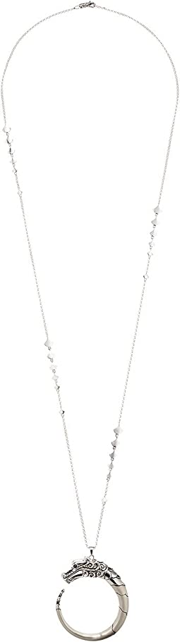 John Hardy Legends Naga Pendant Brushed Necklace with Black Sapphire
