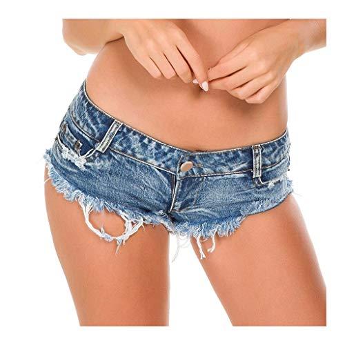 YUNGYE Hot Ladies Shorts Mini Bouton Taille Basse Pantalon Court Boody été Shorts Bas (Color : Blue, Size : L)