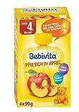 Bebivita Baby Quetschbeutel Pfirsich in Apfel, 4er Pack ( 4 x 4 x 90 g ) -