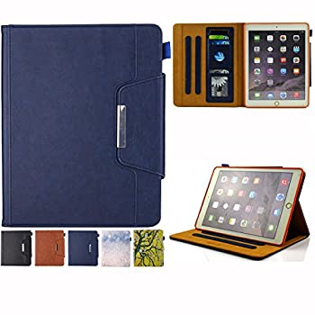 JZCreater Case for iPad 9.7 2018 2017 / iPad Air 2 / iPad Air Case - Flip Stand PU Leather Wallet Case Auto Sleep/Wake Function Smart Cover Blue