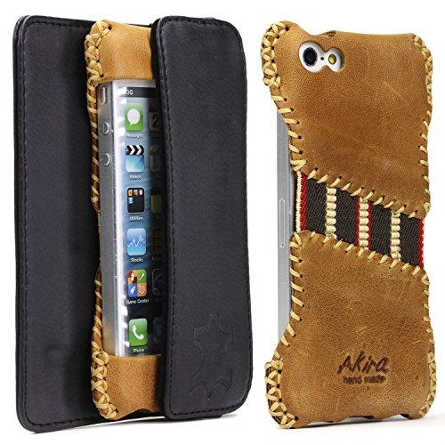 Akira Hand Made [Echt Leder] Handyhülle kompatibel mit Apple iPhone SE / 5 / 5S Cover Handgemacht Case Schutzhülle Etui Flip Wallet Pen Braun Limited