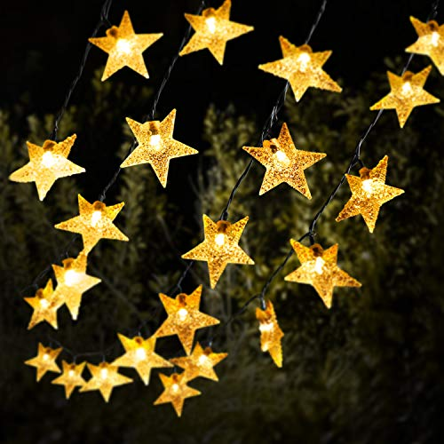 Solar Star String Lights 59 Ft 110 LED, Outdoor String Light Solar and USB Powered, 8 Modes Decorative LED Twinkle Fairy Light Waterproof for Garden, Patio, Wedding, Party, Christmas Tree (Warm White)