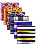 HISDERN Mens Wedding Handkerchief Check Hanky Printing Modello assortito a 6 pezzi Pocket Square