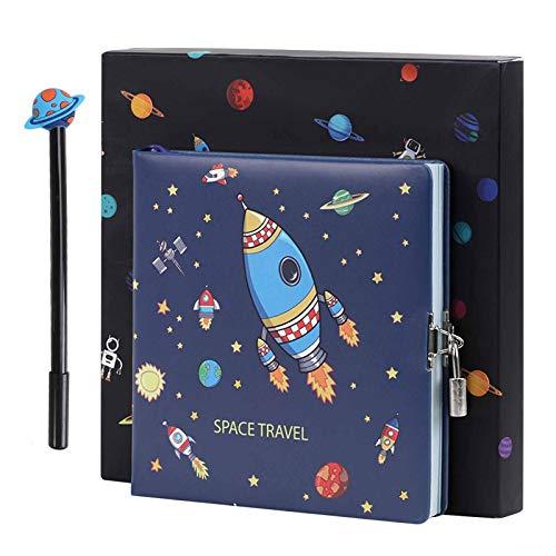 Diario A5 Planet para niños y niñas, con cerradura de combinación, con llave, cuaderno secreto de investigación espacial, regalo para estudiantes