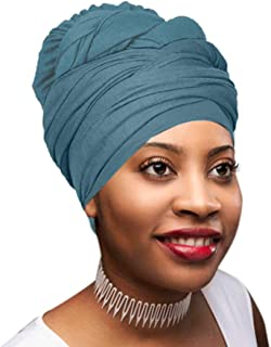 Novarena Solid Colors Soft Stretch Headwraps Headband Long Hair Head Wrap Scarf Turban Tie Jersey Knit & KENTE African Print