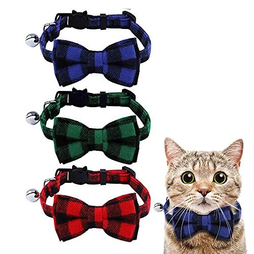 Collares de Seguridad para Gatos,3 Piezas Pajarita de Gato Ajustable,Collar para Gato con Pajarita,Collar de Gatito,Collar de Gatito de Liberación Rápida,para Gatos,Cachorro(Azul,Verde,Rojo)