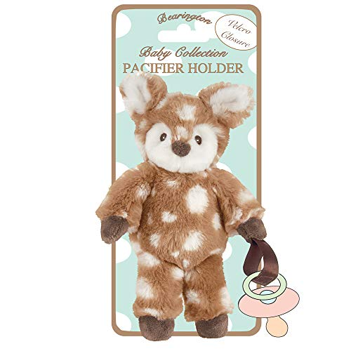 Bearington Baby Lil' Willow Plush Fawn Pacifier Holder, 7.5 Inches