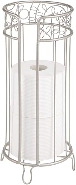 MDesign Decorative Free Standing Toilet Paper Holder Stand With Storage For 3 Rolls Of Toilet Tissue For Bathroom Powder Room Holds Mega Rolls Durable Metal Wire Design Satin