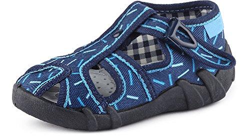 Ladeheid Zapatillas Pantuflas Unisex Niños Niñas LARB003 (Azul Marino/Palos, 21 EU)