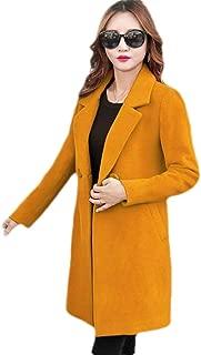 Women Winter Lapel Wool Blend Double Breasted Pea Coat Trench Coat Outwear