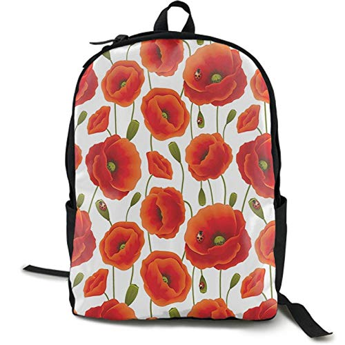 Women's Diaper Backpack College School Bag Lightweight Floral Pattern Of Poppy Flowers Shoulder Bag Anti-Theft Laptop Bag High School Bags with Side Mesh Pocket