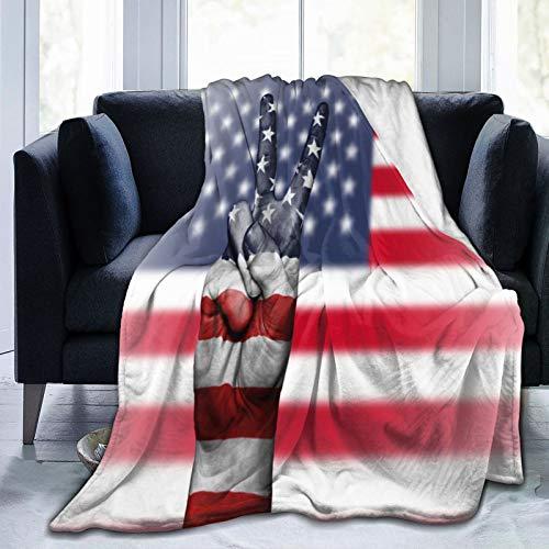 Olverz Manta de sherpa de la bandera de los Estados Unidos, ligera, supersuave, acogedora manta de sofá de lujo para sofá, interior y exterior, 156 x 150 cm