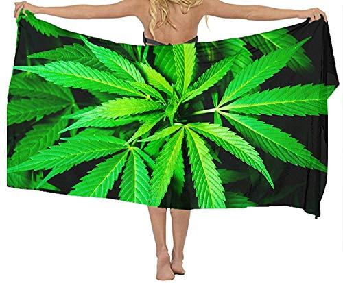 xcvgcxcvasda Badetuch, Soft, Quick Dry, Classic Chiffon Scarf Sheer Wrap Cannabis Marijuana Leaf Beach Sarong for Women,Non-Toxic Decor