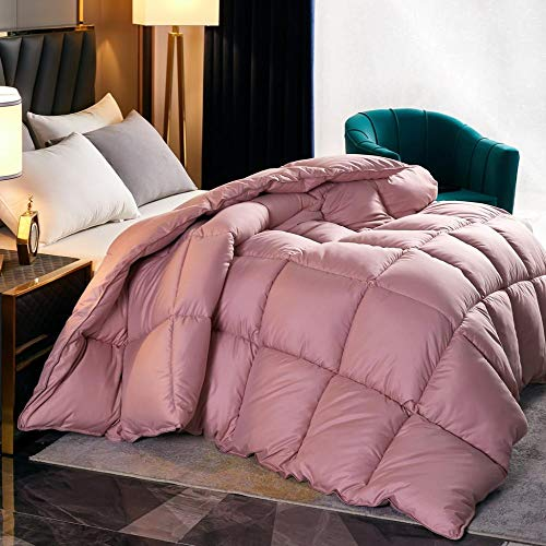 Cotton Anti-Mite And Anti-Allergen-Rds Certification,White Goose Down Padded Warm Winter Duvet Quilt. Single And Double Fall And Winter Are Comfortable And Breathable-Red Bean Paste_180*220cm 8 Kg