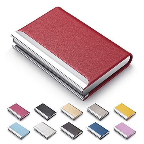 MAZYPO Business Card Holder, Name Multi Cards Case, Red Luxury PU Leather Credit Card ID Case - Protector Business Name Card Holder Slim Metal Wallet Pocket Holder Case for Women & Men