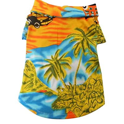 Tangpan Hawaiian Beach Coconut Tree Print Dog Shirt Summer Camp Shirt Clothes