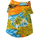 Tangpan Hawaiian Beach Coconut Tree Print Dog Shirt Summer Camp Shirt Clothes (Yellow M)