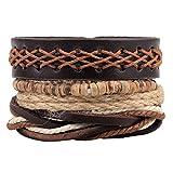 Diamondo Adjustable Hemp Cuff Fashion Women Men Multilayer Beads Leather Bracelet