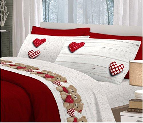 ITALYSWEETHOME Completo Lenzuola Flanella Matrimoniale Orsetto Cuore Rosso Alta QUALITA Super Europa