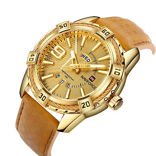NAVIFORCE Luxury Men Sports Watches Waterproof Quartz Leather Watch Gold Big Face Date Clock