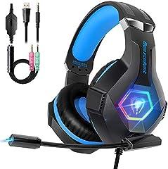 Cascos PS4 con Micrófono Flexible para Xbox One PC Nintendo PS4 Tableta Laptop, Auriculares con Premium Stereo, Orejeras Acolchadas Ligero Cómodo y Diadema Ajustable, Iluminación RGB
