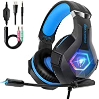Cascos PS4 con Micrófono Flexible para Xbox One PC Nintendo PS4 Tableta Laptop, Auriculares con Premium Stereo, Orejeras...