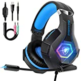 Cascos PS4 con Micrófono Flexible para Xbox One PC Nintendo PS4 Tableta Laptop, Auriculares con...