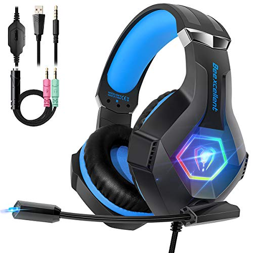 Cascos PS4 con Micrófono Flexible para Xbox One PC Nintendo PS4 Tableta Laptop, Auriculares...