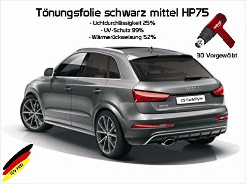 3 D Tönungsfolie passgenau vorgewölbt kompatibel mit Audi A3 8P 3-Türer Bj. 05/03-08/12 (mittelschwarz HP 75 Lichtdurchlässigkeit 25% Wärmerückweisung 52%)