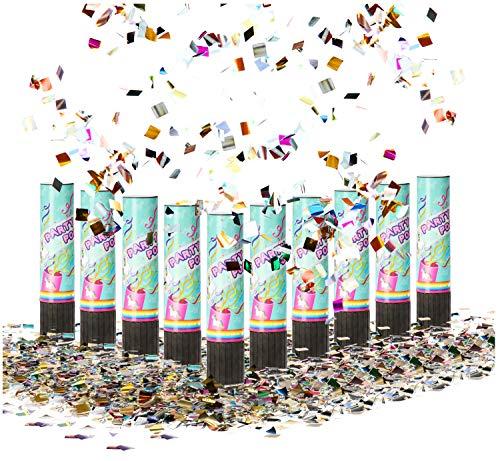 com-four® 10x Shooter mit Einhornmotiv Party Popper-Set 20,5 cm, Konfetti-Kanone, buntes glänzendes Konfetti für Silvester, Partys, Geburtstage (10 Stück - Einhorn 20.5cm)