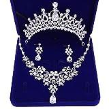 BIGBOBA Tiara de novia con corona, juego de pendientes, collar de boda, juego de joyas, accesorios de boda, colgante de cristal, joya, con caja de regalo, 14 x 5,5 cm, Ohrnadel, 14*4.9cm
