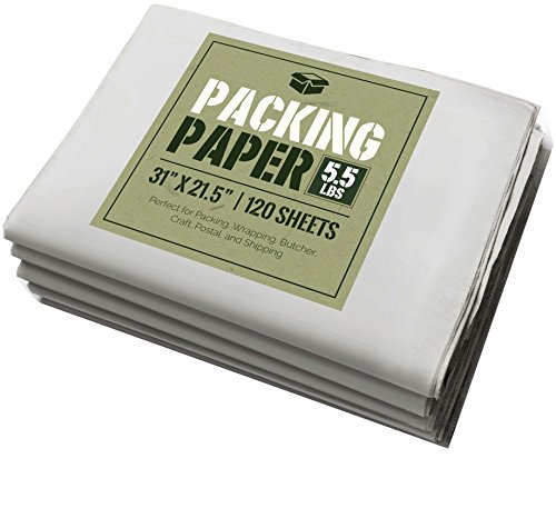 Newsprint Packing Paper: 5.5 lbs (~125 Sheets) of Unprinted, Clean Newsprint Paper, 31' x 21.5'