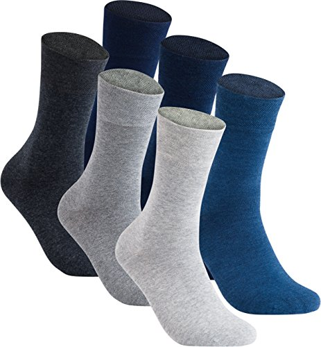 gigando | Jeans & Grey Cotton Socks for Men | Sokken voor heren met comfortabele tailleband zonder rubber | modieuze pakken | hiel & kant versterkt | 6 paar | grijstinte, jeanstae |