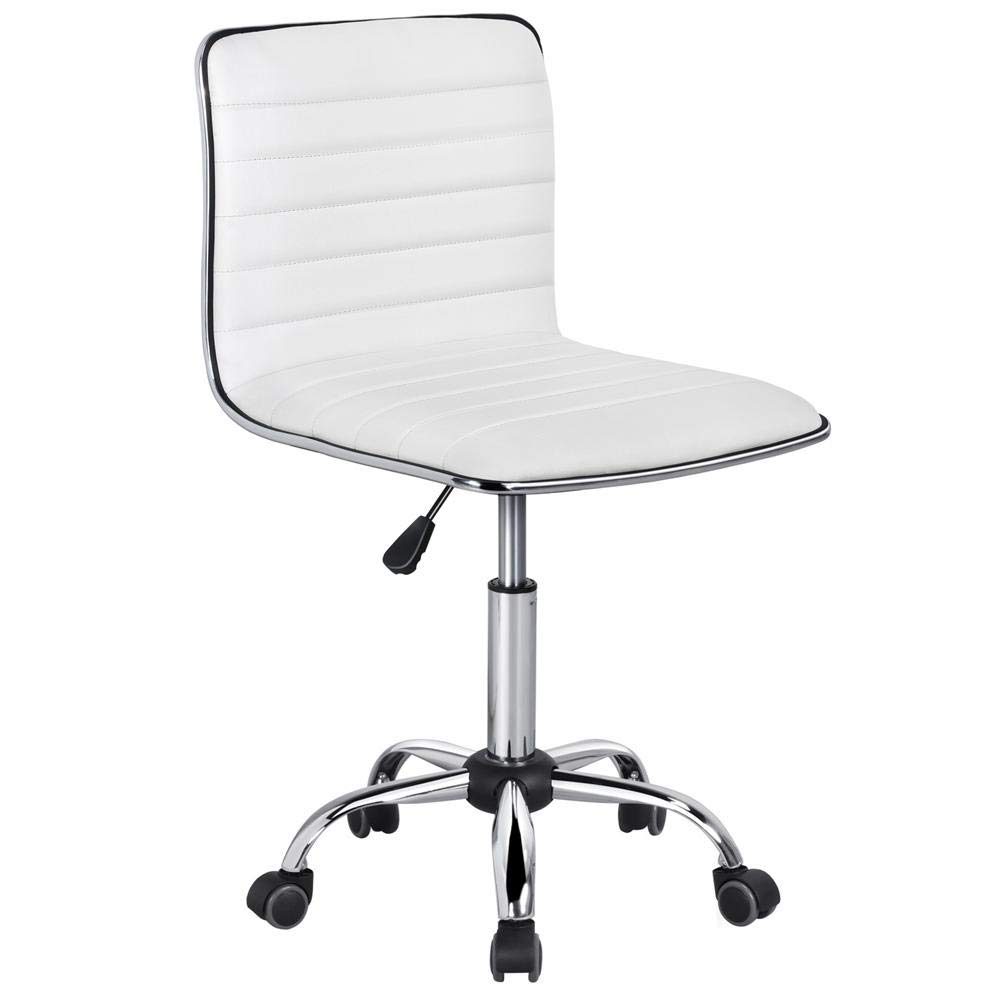 Yaheetech Swivel Computer Desk Chair Faux Leather Adjustable Armless Home  Office Task Chair White