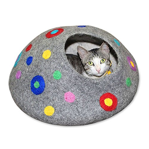 Cool Wool Cat Cave Bed Relax Station House (Large) ~ Handmade Eco Friendly Natural Felted Merino Wool ~ Warm and Cozy Beds for Cats and Kittens Bonus Felt Wool Ball