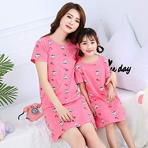 Damen Schlafanzug Pyjama,Cartoon Kaninchen Muster Mutter Kinder Nachthemd Sommer Pjs Sleepwear Familie Passende Pyjamas Baumwolle Weiche Nachthemden Für Kinder Mädchen Haus Jogging Homewear Outfits