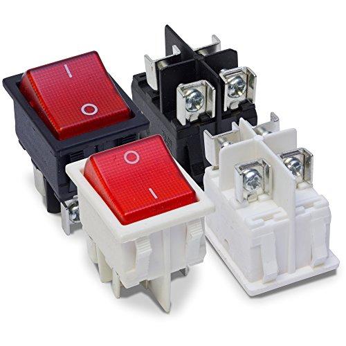 MKK - Wippschalter Kippschalter Wippenschalter 250V 16A Einbauschalter 2 Polig Roter Ein- Aus- Schalter Schwarz