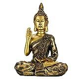 Figura decorativa de Buda sentada, pequeña figura de Buda sentada, de piedra artificial, escultura d...