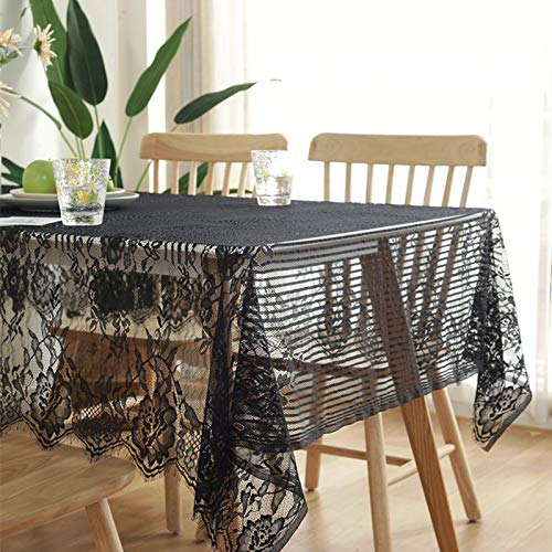 HTUO Home Decoration Tablecloth Christmas Decoration Washable Table Cover Lace Tablecloth Black Cover Cloth Napkin Coffee Table Cafe Dining Table Stain Proof Waterproof 145 * 145cm