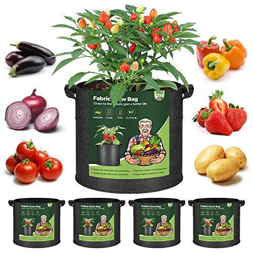 T4U 5 Stück 19L Pflanzsäcke aus Vliesstoff, 5 Gallonen Ф28cm Pflanztasche Pflanzgefäß mit Tragegriffe, Wiederverwendbar Pflanzbehälter Garten Wachsende Tasche für Kartoffeln Tomaten, Blumen