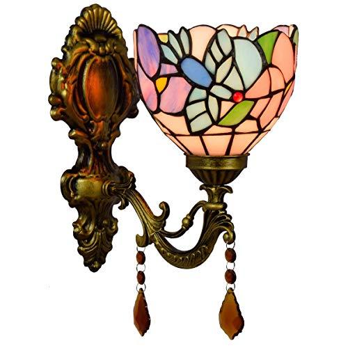 LONGWDS Lámpara de pared Inglés Pastorales Retro Espejo Faros simple Pastoral de cristal lámpara de pared de la cabecera del pájaro pared pasillo Lampl decoración de la lámpara de Tiffany Lámpara de p