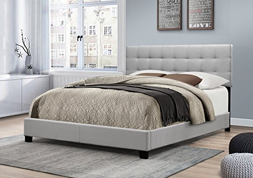 Furniture World Henri Classic Tufted Upholstered Headboard, Twin, Gray (Footboard and Side Rails Sold Separately)