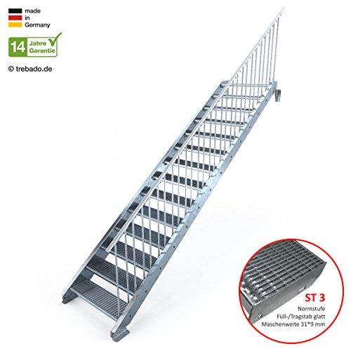 Außentreppe 14 Stufen 90 cm Laufbreite – einseitiges Geländer rechts - Anstellhöhe variabel von 233 cm bis 280 cm - Gitterroststufe ST3 - feuerverzinkte Stahltreppe mit 900 mm Stufenlänge als montagefertiger Bausatz