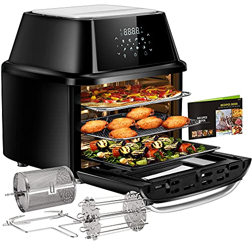 OMMO Air Fryer Oven, 17 Quarts 1800W Large Air Fryer Toaster Oven, 8 Presets & 40+ Recipes, Oilless Countertop Oven for Air Frying, Rotisserie, Dehydrating and Baking, Dishwasher Safe Accessories