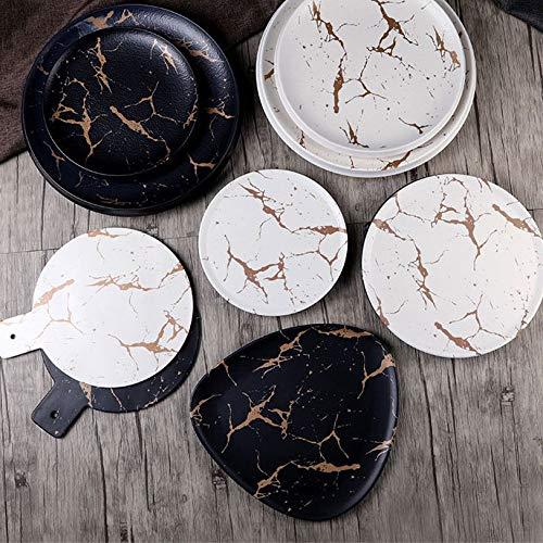 SMEJS Cfcjtz Glaseas de mármol de 12 Piezas, vajilla de cerámica, Conjunto de vajillas de Porcelana, Platos de Desayuno, Platos de Fideos Taza de café Taza de café para decoración
