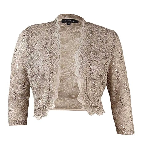 R&M Richards Women's 1 Piece Laced Shrug with Sequins Missy in Champagne, Champ, Large