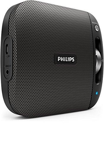 Philips BT2600B Enceinte Bluetooth Portable Résistante aux Eclaboussures, Filtre Anti Distorsion, Facile à Utiliser, Noir